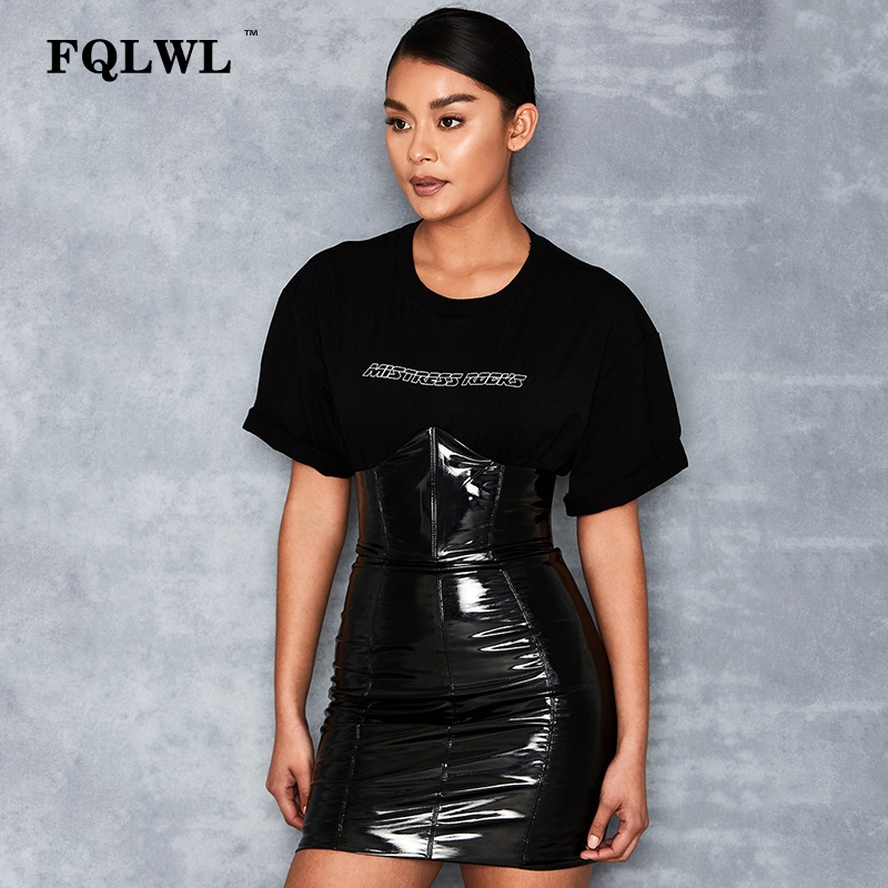 HTB1 BydXs vK1Rjy0Foq6xIxVXa2 - FQLWL Faxu Latex Pu Leather Skirt For Woman Zipper Black/High Waisted/Pencil Skirts Womens Autumn Wrap Sexy Mini Skirt Female