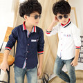 2016 autumn paragraph boy collar shirt color bar boys shirts kids boys clothes