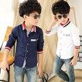 2016 párrafo otoño niño camisa de cuello barra de color camisas de los muchachos niños ropa de los muchachos