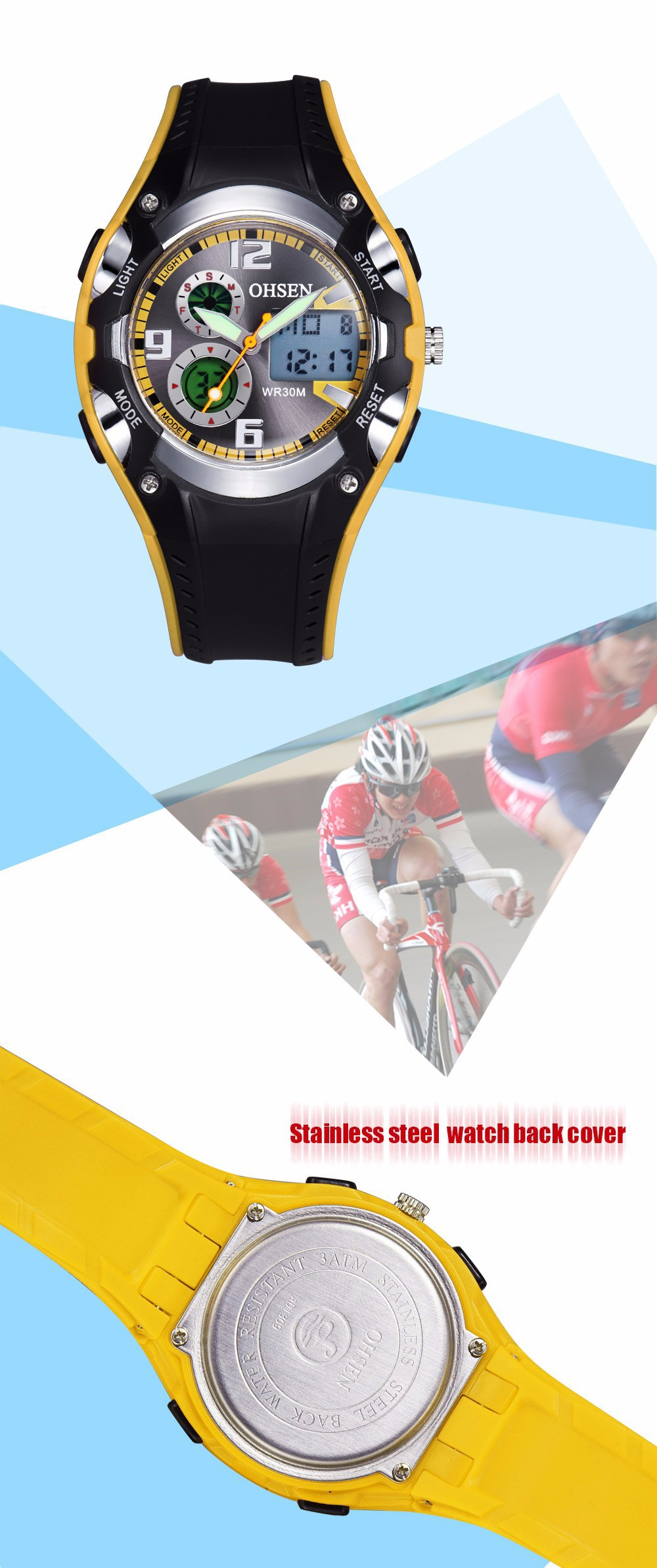 Original Ohsen Brand Fashion Sports Men's Watches 30M Waterproof Rubber Black Rubber Band Digital Sport Wristwatch for Men Gift (20)