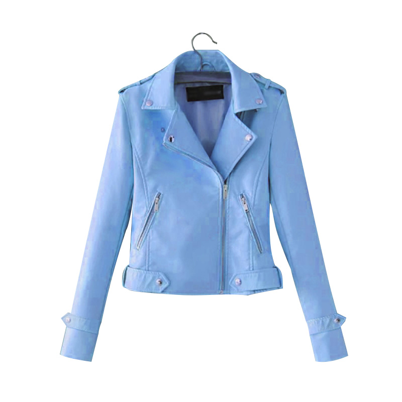 Autumn And Winter Womens Coat New Fashion Polyurethane Leather Lapel Zipper Motorcycle Solid Color Short