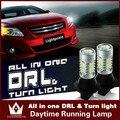 Guang Dian Carro LEVOU luz drl com sinal de volta luz luz de circulação diurna + luz girando 1156 BAU15S 7507 PY21W Para Outlander 3