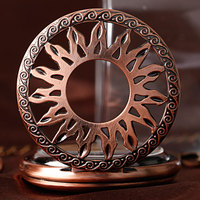 Flame Sun Automatic Mechanical Pocket Watch For Men Women Vintage Rose Copper Self Winding Pendant Fob