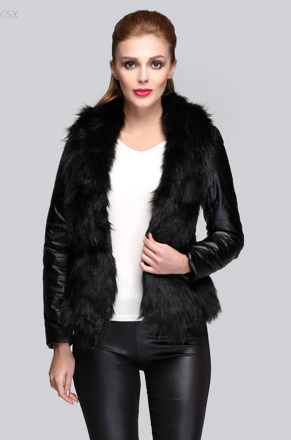 Alishebuy Hot Sale Luxury Womens Faux Fur Coat Leather -4571