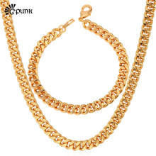Kpop Necklace Men Cuban Gold color Chain Necklace Bracelet Jewelry Set for boys party jewelry S838G(China)