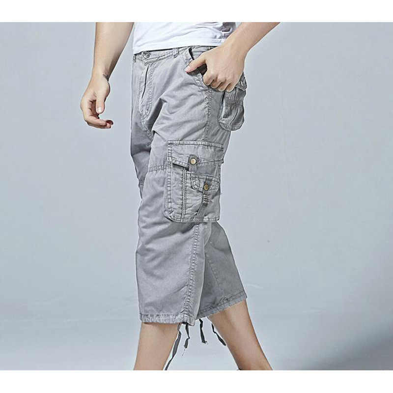 a2998c824d6 New Short Pants Men Cotton 3 4 Length Cargo overall casual Plus Size Man  Sandbeach