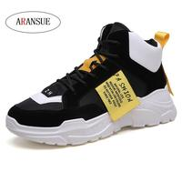ARANSUE 2018 breathable men casual shoes lace up fashion light weige male shoes popular high top men's shoe