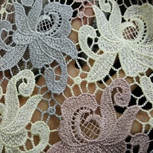 Cheaper quality 1yards Lace Embroidery lace fabric Water Soluble African lace Polyester Reflective Lace Fabrics For dress thin embroidered lace hight quality 4 5in wide water soluble lace white polyester lace fabric for dress 5yards