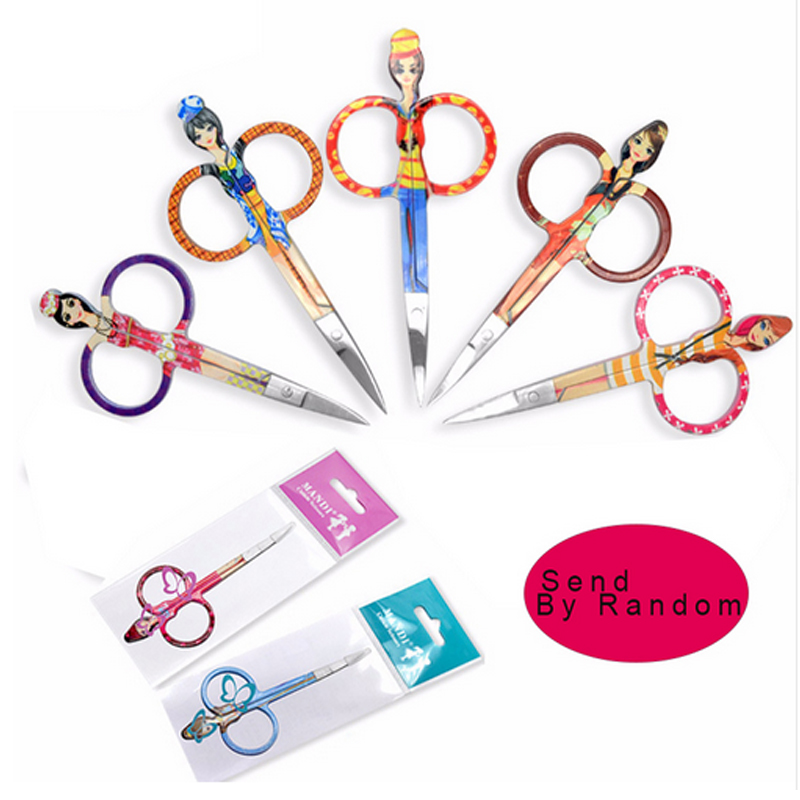 1pcs Small Curved Sharp Tip Head Stainless Steel Scissor Face Hair Brow Trimmer Scissors Cute Doll Design Make up Beauty Tool
