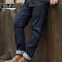 2016 дизайн одежды старый болван печати Мужской прямые джинсы весна осень случайный тонкий 100% хлопок мотоцикл джинсы
