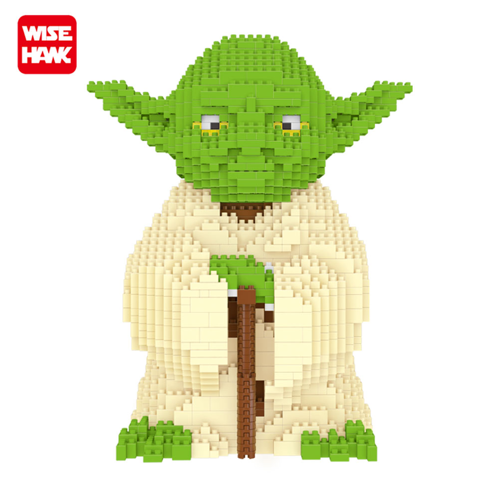 Wisehawk Yoda Big Size American Anime Figures 1520 PCS Building Blocks DIY Assembly Model Bricks MiniBlocks Gifts Toys For Kids