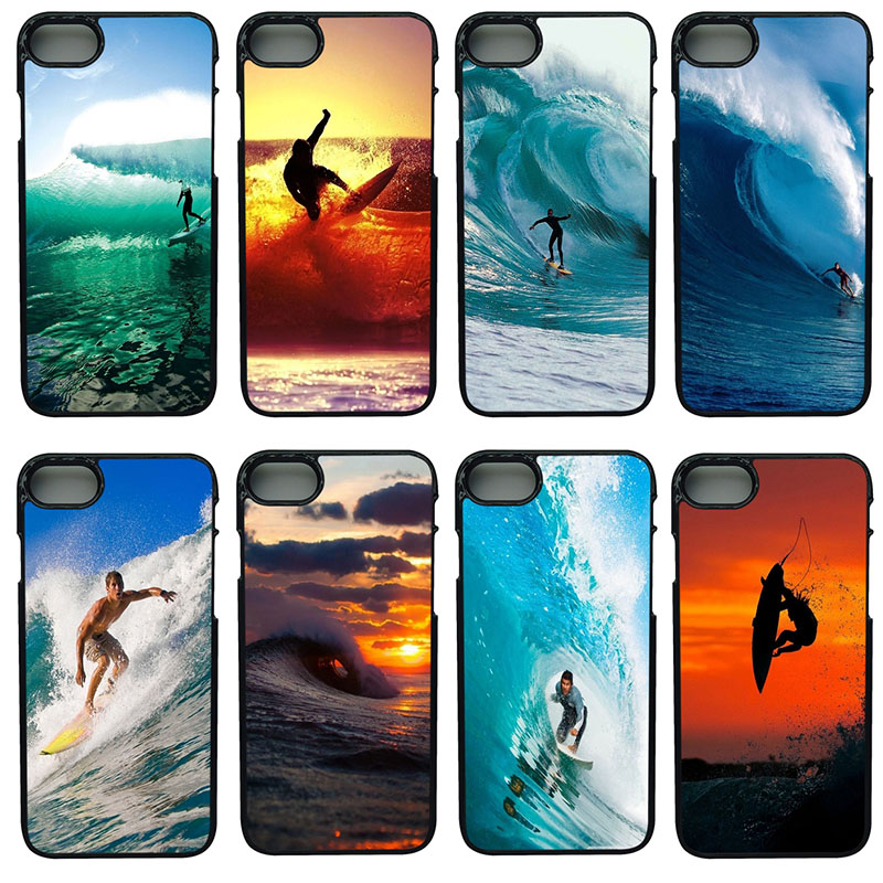 Surfer Sea Wave Cell Phone Cases Hard Plastic Shell Phone Cover for iphone 8 7 6 6S PLUS X 5S 5C 5 SE iPod Touch 4 5 6 Case