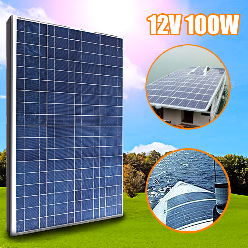 KINCO 100W 12V PolyCrystalline Solar Panel DIY High Conversion Solar Cell + 2 Clips MC4 Cable For Car Battery Phone Charger