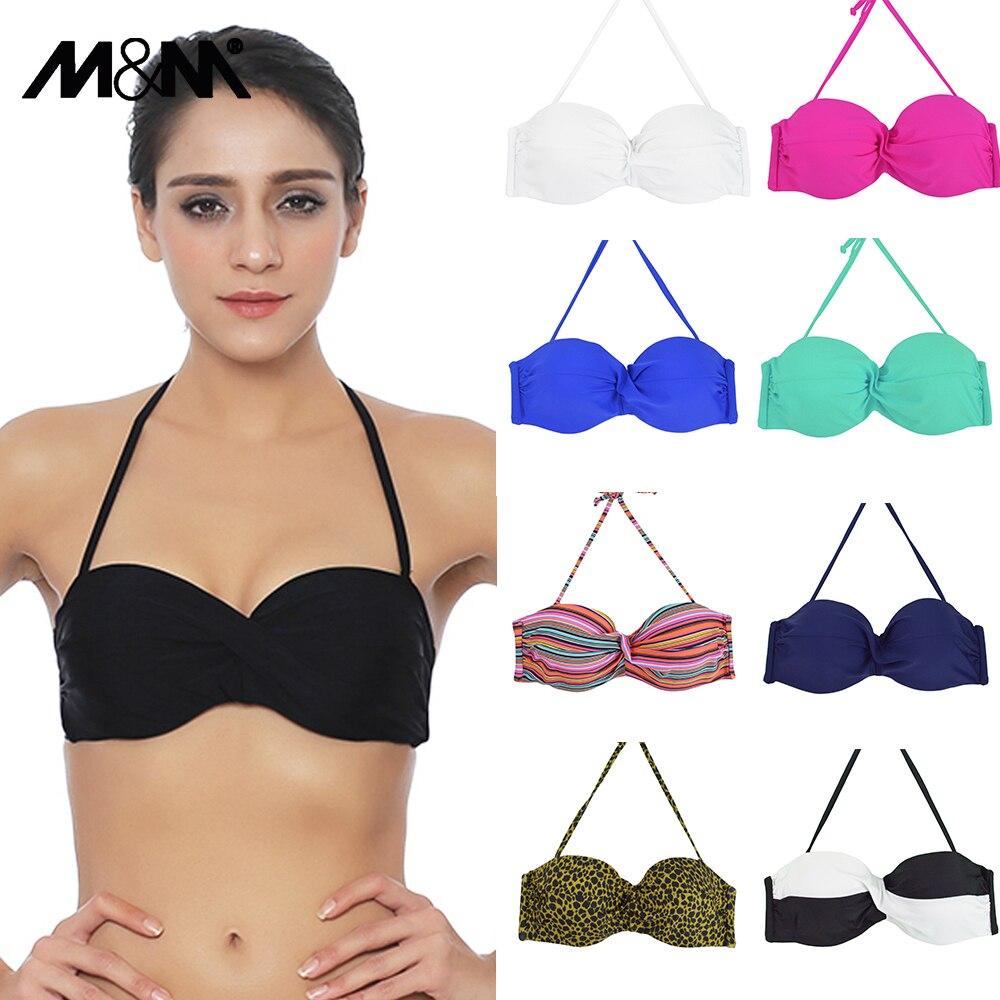 M&M New Women Sexy Micro Bikini Top Halter Swimwear Brazilian Biquini Cross Ruched Bra Push Up Bathing Suit Solid Swimsuit T607