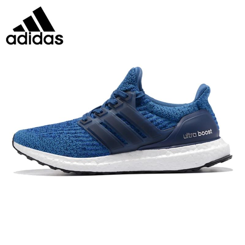 Adidas UltraBOOST Hommes de Chaussures de Course, D'origine Sports de Plein Air Sneakers Chaussures, Bleu, Respirant Léger BA8844