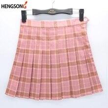 Женская летняя розовая клетчатая мини-юбка, плиссированная юбка с высокой талией для женщин, спортивная тренировочная юбка с внутренней юбкой для тенниса