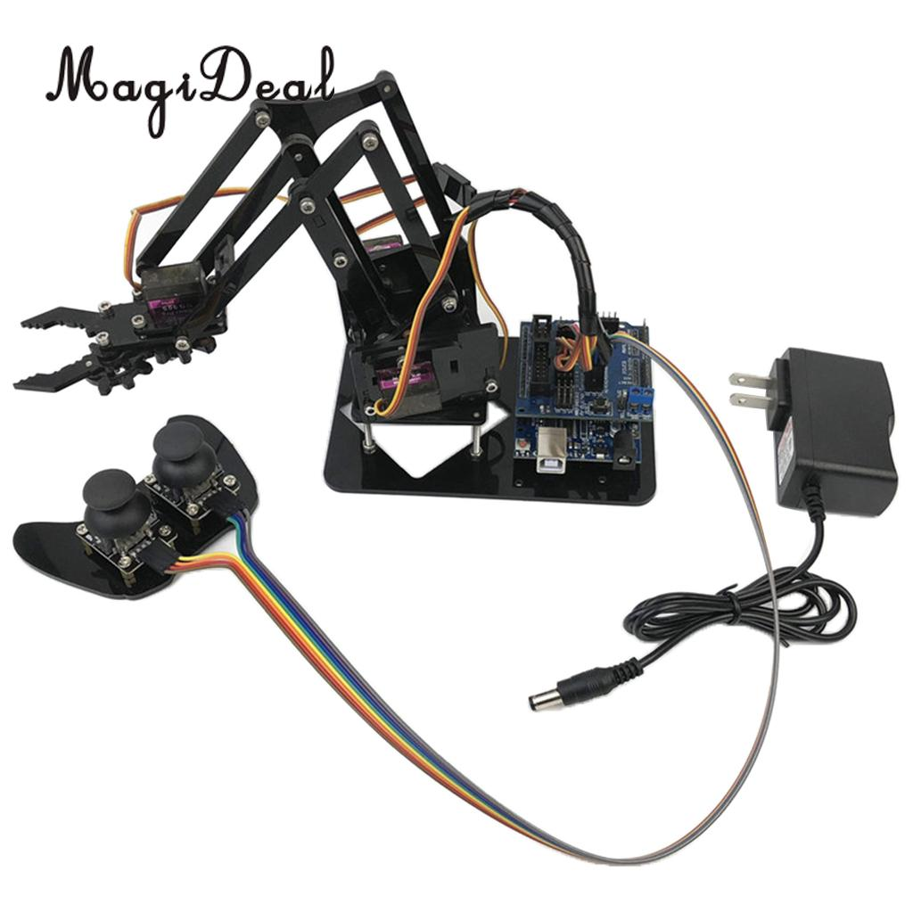 DIY Assembled Acrylic 4-Dof Robot Mechanical Arm Circuit Kits for Arduino Learning Science Toy 328 in 1 electronics discovery learning kits diy physical lab basic circuit experiment science toy
