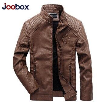JOOBOX แบรนด์ 2018 ฤดูใบไม้ร่วงฤดูหนาวที่ดีที่สุดขายแฟชั่น PU Faux หนังหนังผู้ชายคุณภาพดี Casual Slim Mens Warm Jacket