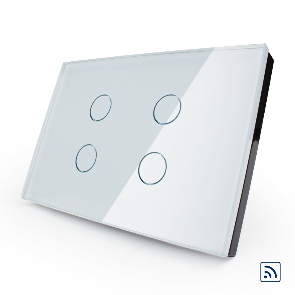 купить US/AU Standard Touch Switch, VL-C303S-81, White Crystal Glass Panel,3-gang 2-way Touch Control Light Switch with LED indicator онлайн