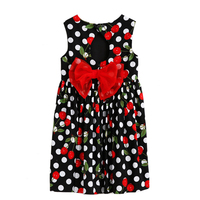 CANDYDOLL Summer Girls Dress Baby Cotton Cherries Print Dot Bow vestido Children Vest Knee length Clothing For Party