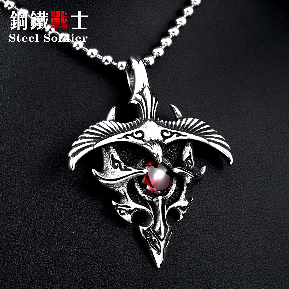 Steel soldier 2015 new products stainless eagle with stone pendant men and women good detail necklace pendant