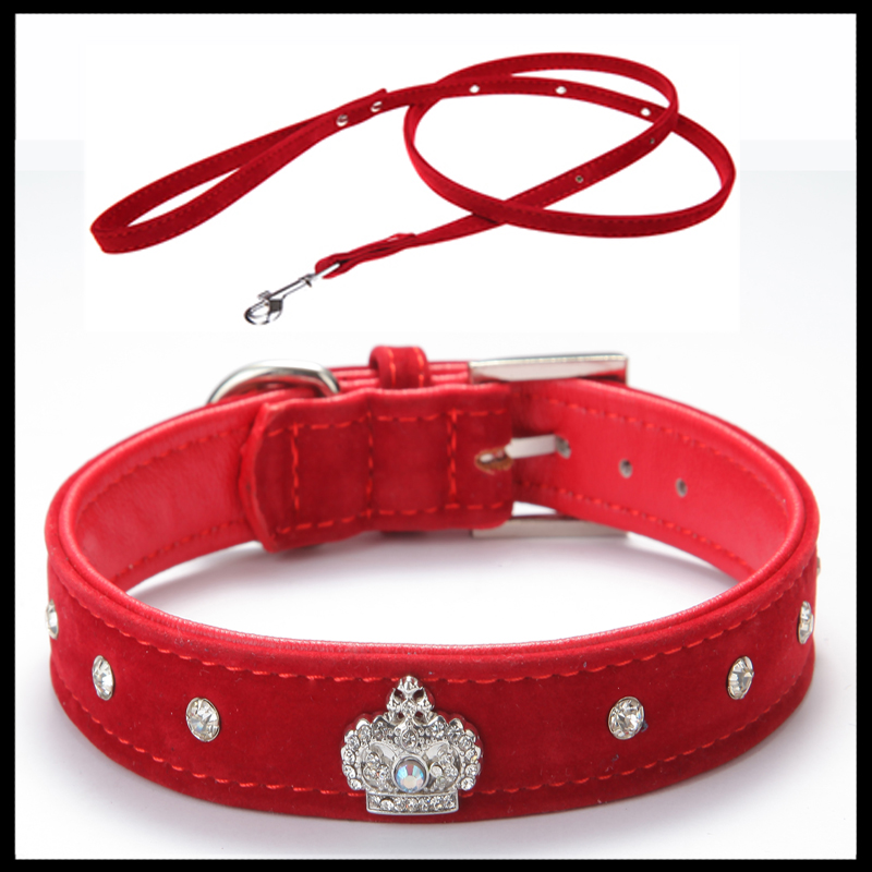 Gratis frakt Material Justerbart halsband Rhinestones Pet Cat Dog Crown Collar Soft Velvet Leash and Collar set XS S M L