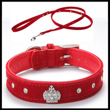 Il trasporto libero Materiale Regolabile collana di Strass Pet Dog Cat Corona Collare Morbido Velluto Guinzaglio e Collare set XS S M L(China)