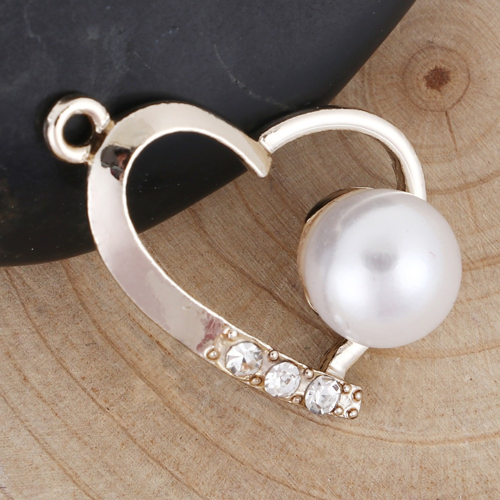 10 PCs Zinc alloy silver Transparent Rhinestone Heart pearl Pendant jewelry Making jewelry Accessories for woman girl IDY