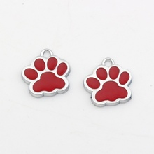 Hot sell ! 10pcs Red  Enamel Alloy Paw Print Charm Pendant DIY Jewelry 17x17.5mmkl30