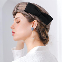 LEAYH 2019 Spring Autumn and Winter New Caps Houndstooth Pattern 100% Wool Hats Women Lady Woollen Felt Black Bowknot Berets