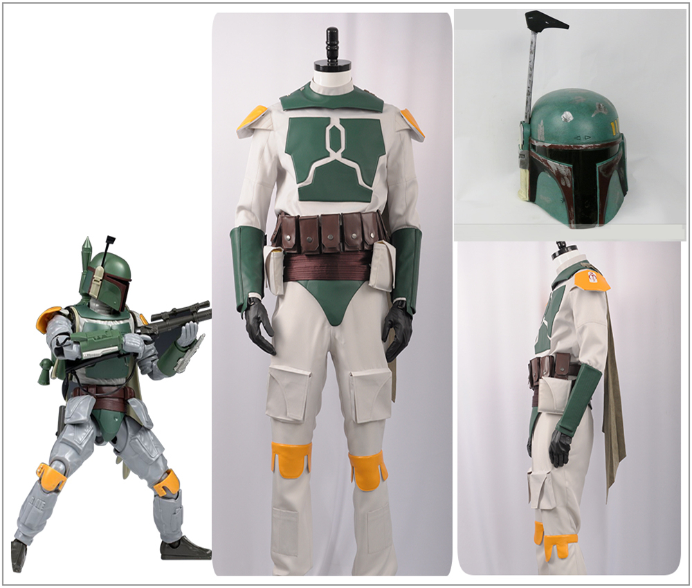 Movie Star Wars Boba Fett Cosplay Costume Custom Superhero Nanosuit Belts + Bag Custom Men Costume PVC Helmet Halloween Carnival image