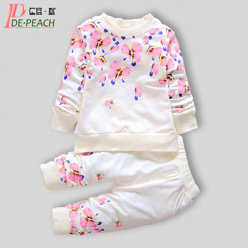 Fashion Baby Girl Clothing Set 2017 Spring Long Sleeve Print Flower Shirt + Pants 2pcs Suit Cotton Toddler Kids Clothes Set free shipping children clothing spring girl three dimensional embroidery 100% cotton suit long sleeve t shirt pants