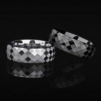 Saya Brand 7mm Silver/Black Two Tones Tungsten Wedding Ring Multi Facet Wedding Band Engagement Ring for Men Women Size 7.5 10.5