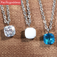 pacificgoddess hot sell stainless steel Charm CZ stone women necklaces pendant