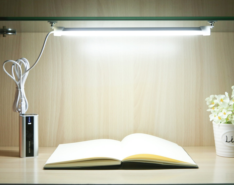 USB LED Bar Light Tube Hard Rigid Strip Desk Table Bed Reading Work Night Lamp Bookcase Kitchen Closet Wardrobe Cabinet Stairs