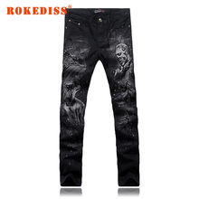 Spring mens jeans printing Elasticity Slim Small straight Flower pants Nightclub Men s clothing pantalones vaqueros