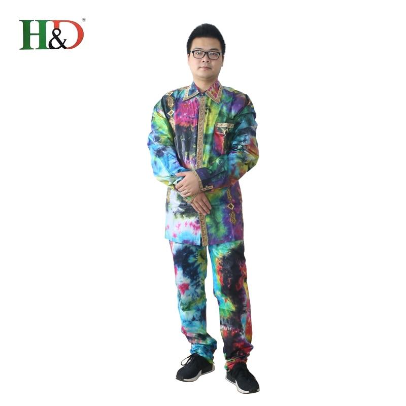 H & D lelaki lelaki Afrika sesuai baju pakaian tradisional dashiki - Pakaian kebangsaan - Foto 5