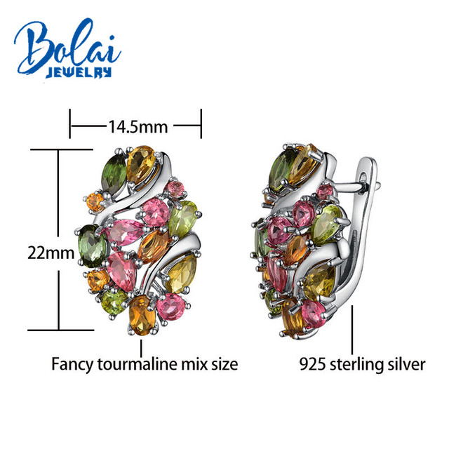 Bolai natural Brazil tourmaline clasp earrings 925 sterling silver multi color gemstone luxury jewelry for women wedding party