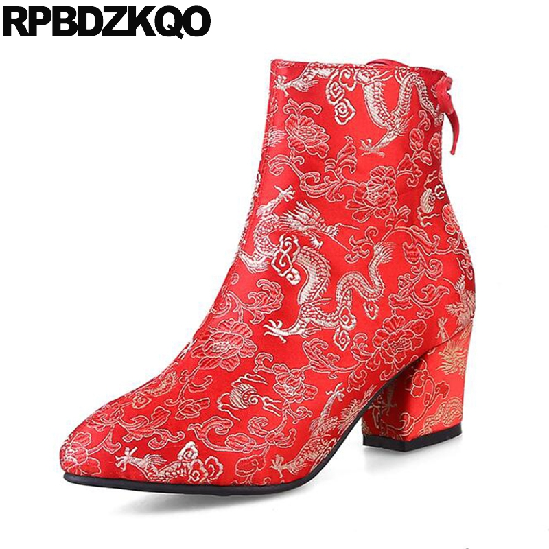 Pointed Toe Bow Booties Wedding Embroidered Shoes Chunky Women Boots Winter 2017 High Heel Embroidery Bridal Chinese Red Ankle nikbea vintage western boots cowboy ankle boots for women pointed toe boots winter 2016 autumn shoes pu chunky low heel booties