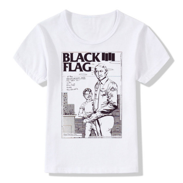 ff9f159e Boys&Girla Print Black Flag Fashion T-shirt Children Punk Rock Band Henry  Rollins T shirts Kids Tops Tee Baby Clothes,HKP670