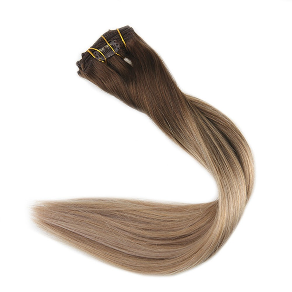 Full Shine Brazilian Human Hair Clip Extensions Ombre Color #4 Fading To 18 And 27 100g 10Pcs Real Hair Double Weft Clip Ins