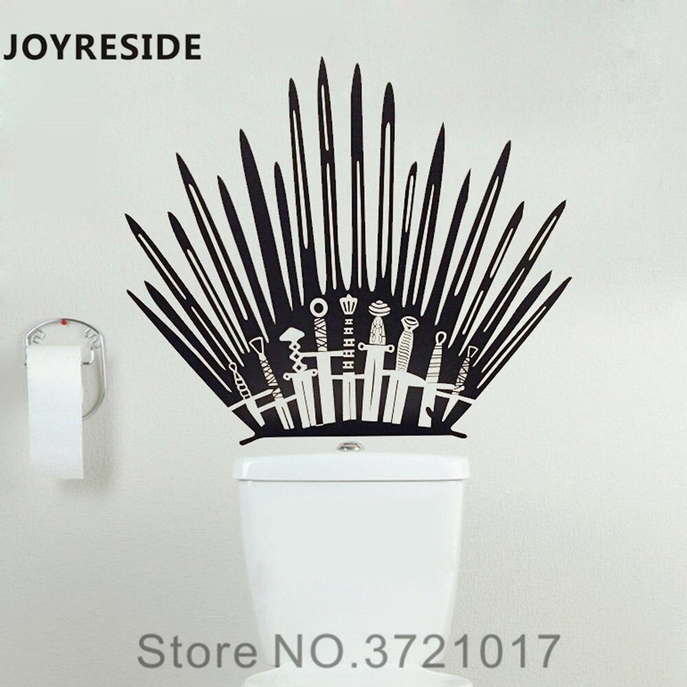 Joyreside игра трон пародия туалете Ванная комната Унитаз бак Наклейка на стену винил Стикеры Декор Железный Трон мечи Книги по искусству XY120