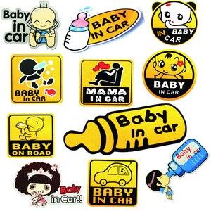 Image 1 - SLIVERYSERA Vinyl Cute Cartoon Car Stickers Baby In Car Pattern Warming Sticker Car Body Decal Car Styling #B1293