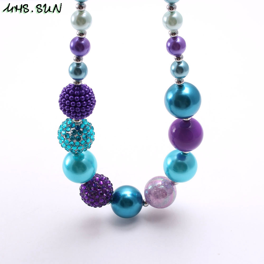 MHS.SUN Charm Baby Chunky Beads Necklace Handmade Toddler Girl Bubblegum Necklace For Child kid Choker Necklace Gift Jewelry 1PC