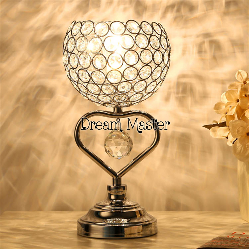 Creative European style living room table lamp bedroom bedside crystal lamp warm romantic wedding gift a1 master bedroom living room lamp crystal pendant lights dining room lamp european style dual use fashion pendant lamps