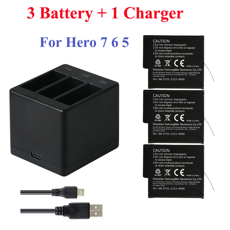 3Pcs Go Pro Lithium Battery For GoPRO Hero 7 8 Version Battery+3 Slots Charger For GoPro 7 Hero 6 Hero <font><b>5</b></font> <font><b>2018</b></font> Camera Accessories image