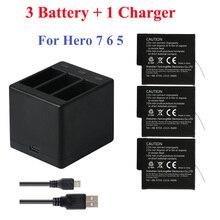 3Pcs Go Pro Lithium Battery For GoPRO Hero 7 8 Version Battery+3 Slots Charger For GoPro 7 Hero 6 He