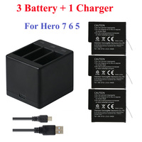 3Pcs Go Pro Lithium Battery For GoPRO Hero 7 Version Battery+3 Slots Charger For GoPro 7 Hero 6 Hero 5 2018 Camera Accessories