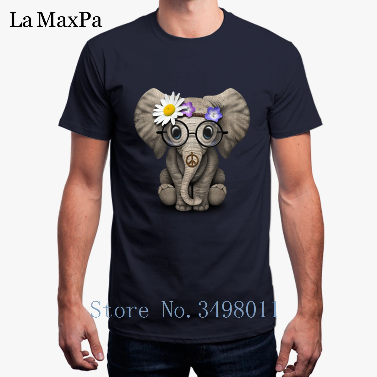 Printed Cute Baby Elephant Hippie T-Shirt For Men Fitness 100% Cotton Tee Shirt Costume Plus Size Men T Shirt Short Sleeves