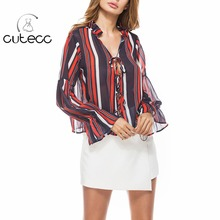 OL style see-through sexy deep V-neck women blouses lantern sleeve lace-up femme chemise chiffon striped loose shirts tops 2017
